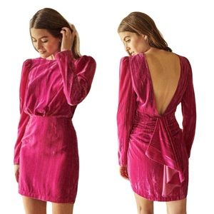 Saylor Tenley Long Sleeve Velvet Minidress Pink XL